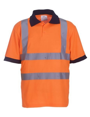 Yoko Hi-Vis YK015 Short Sleeve Polo Shirt Fluorescent Orange