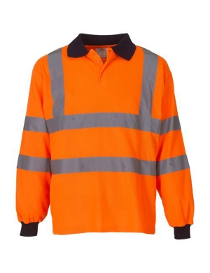 Yoko Hi-Vis YK016 Long Sleeve Polo Shirt Fluorescent Orange