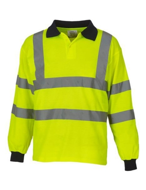 Yoko Hi-Vis YK016 Long Sleeve Polo Shirt Fluorescent Yellow