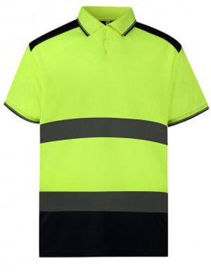 Yoko YK017 Hi-Vis Two Tone Polo Shirt Yellow/Navy