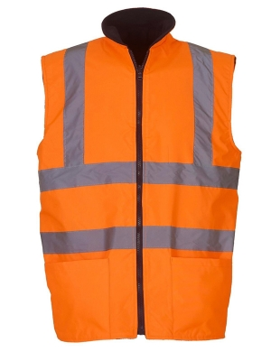 Yoko Hi-Vis YK061 Reversible Fleece Bodywarmer Fluorescent Orange