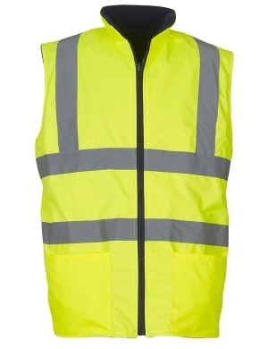 Yoko Hi-Vis YK061 Reversible Fleece Bodywarmer Fluorescent Yellow