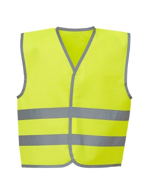 Yoko Kids Hi-Vis YK102 Two Band Waistcoat Fluorescent Yellow