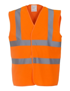 Yoko Hi-Vis YK102 Two Band Waistcoat Fluorescent Orange