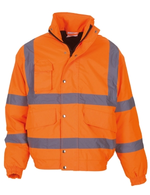 Yoko Hi-Vis YK200 Classic Bomber Jacket Fluorescent Orange